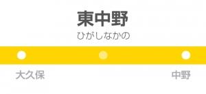 東中野駅の駅名標