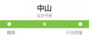 中山駅の駅名標