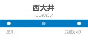 西大井駅の駅名標