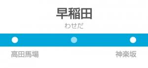 早稲田駅の駅名標