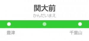 関大前駅の駅名標