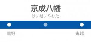 京成八幡駅の駅名標