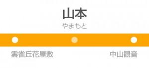 山本駅の駅名標
