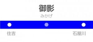 御影駅の駅名標